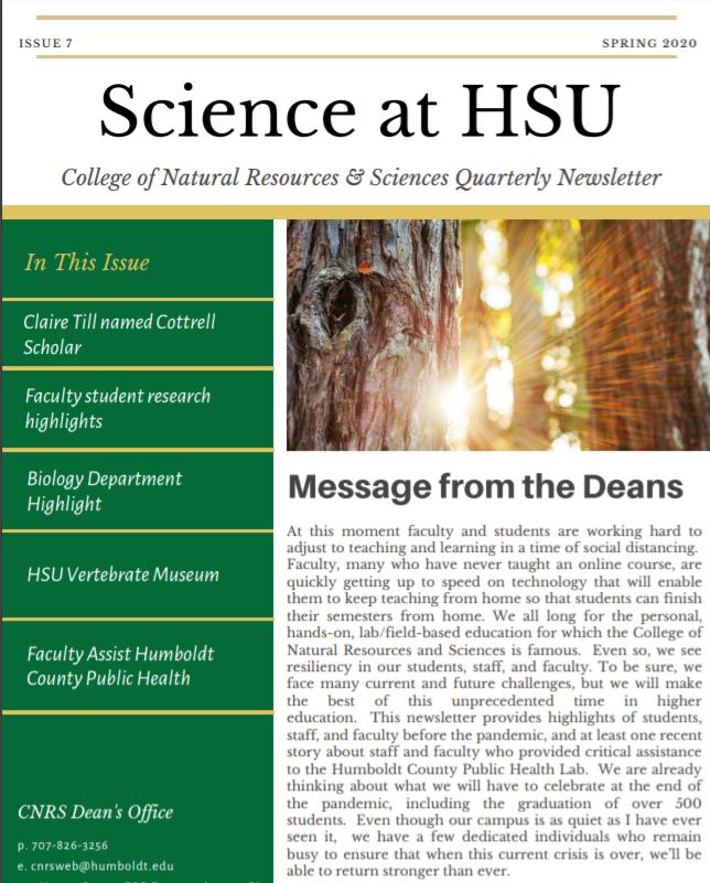 Spring 2020 CNRS Newsletter